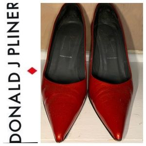 Donald J. Pliner Red Patent Heels. Size 9.5M